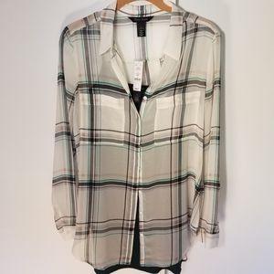 WHBM sheer plaid button down shirt with tank
